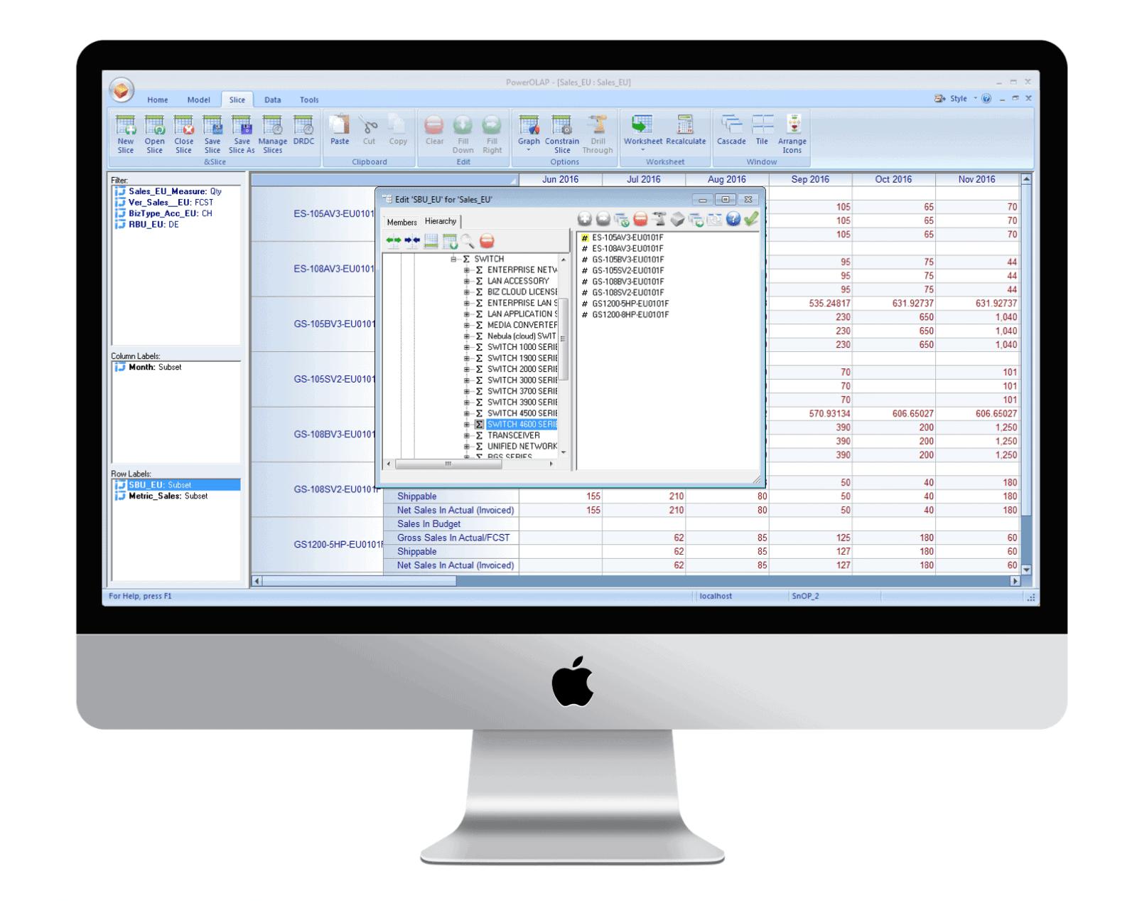SnOP 使用者Excel操作介面